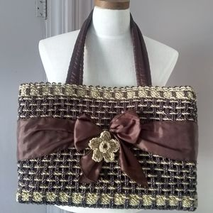 Handbags - Brown and tan lined wicker purse